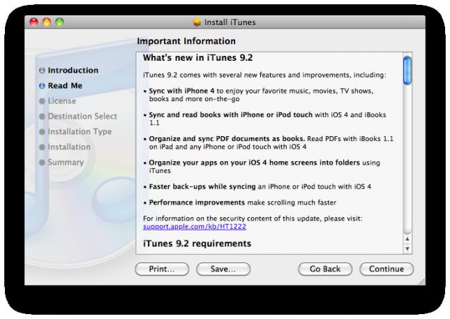 Загрузка и установка iTunes 9.2