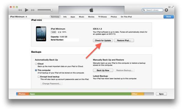 Обновление iOS с помощью iTunes